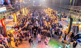 Hamburg, Germany, December 10th 2017: Celebrating and dancing pe royalty free stock images