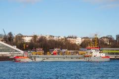 Trailing suction hopper dredger, Amazone. Hamburg Germany - December 16. 2017: trailing suction hopper dredger, Amazone, sailing in the port of Hamburg Royalty Free Stock Photo
