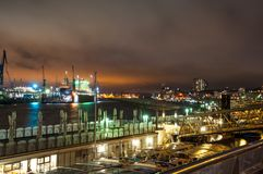 View over landungsbrucken pier and the Elbe river royalty free stock images