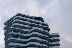 Hamburg, Germany - February 02, 2014: Upper part of Marco Polo Tower at daylight. stock photo