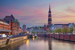 Hamburg, Germany. Image of Hamburg- Speicherstadt during beautiful sunset stock images