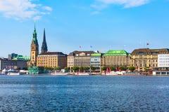 Hamburg Rathaus and Alster lake, Germany royalty free stock images
