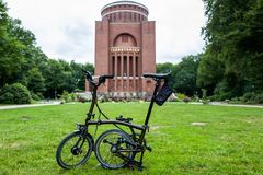 Hamburg, Germany - July 14, 2018: The Brompton black lacquer edition bike in front of the Planetarium. royalty free stock photo