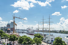Hamburg , Germany - July 14, 2017: Cranes are working at the construction site between the St. Pauli Piers and Baumwall. HAMBURG , GERMANY - JULY 14, 2017: Huge Stock Image