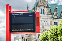 Hamburg , Germany - July 14, 2017: Electronic sign showing that the bus stop Rathausplatz can not be served Royalty Free Stock Photos