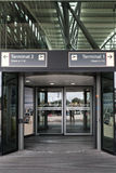 HAMBURG, GERMANY, JULY 27, 2016: Entrance to the passenger terminal with check-in at the internat Royalty Free Stock Photography
