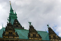 HAMBURG, GERMANY - JULY 18, 2015: Exterior view of the town hall. The German Rathaus was built 1897 and is the seat the government Stock Photos