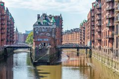 HAMBURG, GERMANY - JULY 20, 2016: Famous water castle in Speiche. Rstadt. Hamburg attracts 10 million people annually stock images