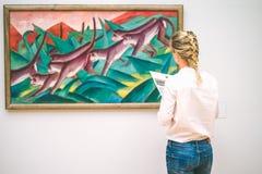 HAMBURG, GERMANY - 9 JULY 2017: Hamburg museum. of art Jung woman admire the painting.  royalty free stock images