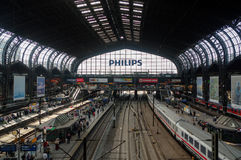 HAMBURG, GERMANY - JULY 18, 2015: the Hauptbahnhof is the main railway station in the city, the busiest in the country and the sec Royalty Free Stock Image