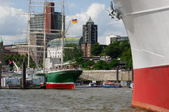 HAMBURG, GERMANY - JULY 18, 2015: MS Cap San Diego is a general cargo ship, situated as museum in - St Pauli Stock Photography