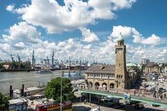 Hamburg, Germany - July 14, 2017: The St. Pauli Piers, German: St. Pauli Landungsbrucken, are one of Hamburg`s major. Tourist attractions in St. Pauli Stock Images