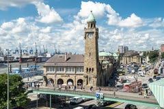 Hamburg, Germany - July 14, 2017: The St. Pauli Piers, German: St. Pauli Landungsbrucken, are one of Hamburg`s major. Tourist attractions in St. Pauli Stock Image