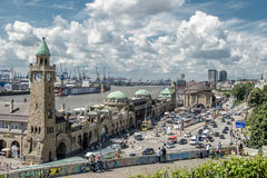 Hamburg, Germany - July 14, 2017: The St. Pauli Piers, German: St. Pauli Landungsbrucken, are one of Hamburg`s major. Tourist attractions in St. Pauli Royalty Free Stock Photography