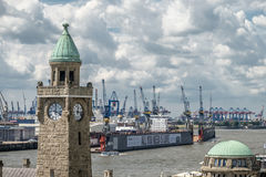 Hamburg, Germany - July 14, 2017: The St. Pauli Piers, German: St. Pauli Landungsbrucken, are one of Hamburg`s major. Tourist attractions in St. Pauli Royalty Free Stock Photo