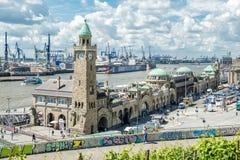 Hamburg, Germany - July 14, 2017: The St. Pauli Piers, German: St. Pauli Landungsbrucken, are one of Hamburg`s major. Tourist attractions in St. Pauli Royalty Free Stock Images
