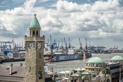 Hamburg, Germany - July 14, 2017: The St. Pauli Piers, German: St. Pauli Landungsbrucken, are one of Hamburg`s major. Tourist attractions in St. Pauli Stock Photography
