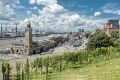 Hamburg , Germany - July 14, 2017: The St. Pauli Piers, German: St. Pauli Landungsbrucken, are one of Hamburg`s major. Tourist attractions in St. Pauli Royalty Free Stock Photography
