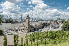 Hamburg , Germany - July 14, 2017: The St. Pauli Piers, German: St. Pauli Landungsbrucken, are one of Hamburg`s major. Tourist attractions in St. Pauli Stock Photos