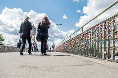 Hamburg , Germany - July 14, 2017: Thousands of love locks clamping at the bridge to the St. Pauli piers. HAMBURG , GERMANY - JULY 14, 2017: Love locks clamping Royalty Free Stock Photos
