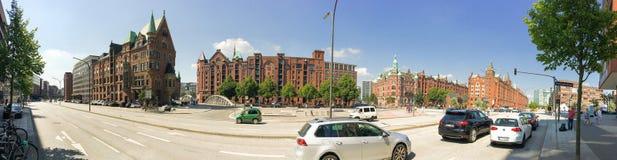 HAMBURG, GERMANY - JULY 2016: Tourists visit city along the harb Stock Photography