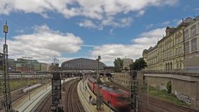 Hamburg , Germany - July 14, 2017: Trains arriving and leaving the Hamburg mainstation. Time lapse with motion blur stock video footage