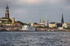Hamburg, Germany - July 28, 2014: View of Landscape of Hamburg`s. Tourist harbour, on the Elbe river. It is one of the most expensive living district in Hamburg royalty free stock image