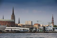 Hamburg, Germany - July 28, 2014: View of Landscape of Hamburg`s. Tourist harbour, on the Elbe river. It is one of the most expensive living district in Hamburg royalty free stock photo