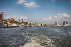 Hamburg, Germany - July 28, 2014: View of Landscape of Hamburg`s. Tourist harbour, on the Elbe river. It is one of the most expensive living district in Hamburg royalty free stock photography