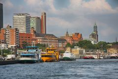 Hamburg, Germany - July 28, 2014: View of Landscape of Hamburg`s. Tourist harbour, on the Elbe river. It is one of the most expensive living district in Hamburg stock photo