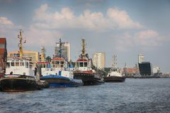 Hamburg, Germany - July 28, 2014: View of Landscape of Hamburg`s. Tourist harbour, on the Elbe river. It is one of the most expensive living district in Hamburg stock photography