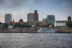Hamburg, Germany - July 28, 2014: View of Landscape of Hamburg`s. Tourist harbour, on the Elbe river. It is one of the most expensive living district in Hamburg stock photos