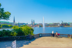 HAMBURG, GERMANY - JUNE 08, 2015: Beautiful lake in the middle of the city, splash water for relaxing, main attraction Stock Photo