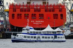 Hamburg, Germany - June 11, 2014: Container vessel Rio Madeira . Hamburg, Germany - June 11, 2014: Container vessel Rio Madeira at the drydock of Blohm+Voss and stock photography