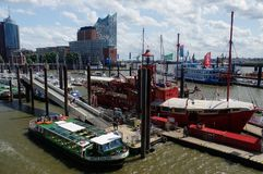 HAMBURG, GERMANY - JUNE 18, 2015: Landungsbruecken of St. Pauli are a very attractive spot for tourists and visitors who enjoy sig. HAMBURG, GERMANY - JUNE 18 stock photos