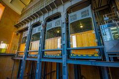 HAMBURG, GERMANY - JUNE 08, 2015: Old elevators made of blue steel and wooden, nice structural project Royalty Free Stock Photo