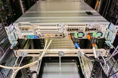 Hamburg, Germany - June 25, 2018: Serverrack Network Hub and Switch in Data Center royalty free stock image