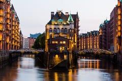 View of the Speicherstadt, also called Hafen City,  in Hamburg, Stock Photo