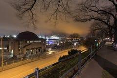 Hamburg germany landungsbruecken at night. The hamburg germany landungsbruecken at night stock photography