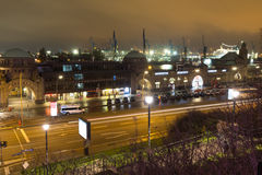 Hamburg germany landungsbruecken at night. The hamburg germany landungsbruecken at night stock images