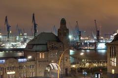 Hamburg germany landungsbruecken at night. The hamburg germany landungsbruecken at night stock photos