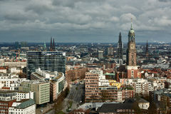 HAMBURG, GERMANY - MARCH 27, 2016: Scenic panorama over the city of Hamburg with the famous Michel stock image