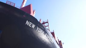 HAMBURG, GERMANY - MARCH 8th, 2014: : NEW YORK EXPRESS from Hapag-Lloyd AG container ship in the port of Hamburg stock photo