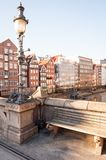 Hamburg, Germany - March 15, 2016: View from the Hohe Bruecke, high bridge, at the historic buildings at Nikolaifleet. Stock Photography