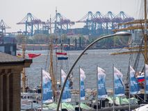 Hamburg, Germany - May 07, 2016: During the harbour`s birthday , there are a lot of decorative waving flags and pennants. Royalty Free Stock Photo