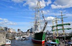 Sailing Boats at the St. Pauli-Landungsbrucken, Hafengeburtstag. Hamburg, Germany - May 11, 2019:  Sailing Boats at the St. Pauli-Landungsbrucken royalty free stock photo