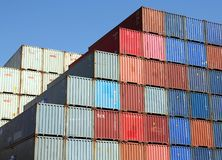 Stacked Shipping Containers and blue sky Royalty Free Stock Photo