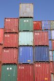 Stacked Shipping Containers and blue sky Royalty Free Stock Photos