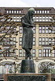 Hamburg in Germany. Monument to poet Heinrich Heine on Rathhaus. Royalty Free Stock Photography