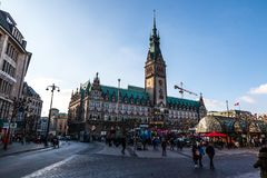 Hamburg City Hall, Germany. HAMBURG, GERMANY - NOVEMBER 11, 2018: View of Hamburg City Hall on sunny weather, the seat of local government of the Free and stock photography
